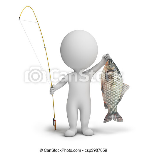 3d small people - fisherman - csp3987059