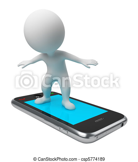 3d small people - flight on phone - csp5774189