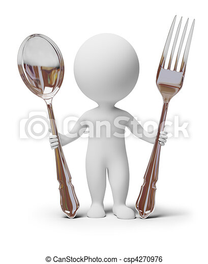 3d small people - fork and spoon - csp4270976