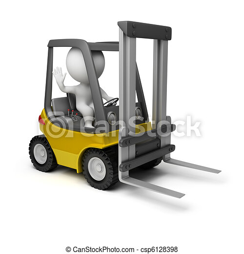 3d small people - forklift - csp6128398