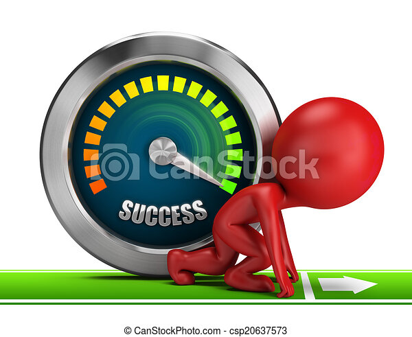 3d small people - forward to success - csp20637573