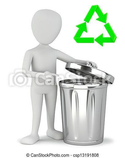 3d small people - garbage recycling. - csp13191808