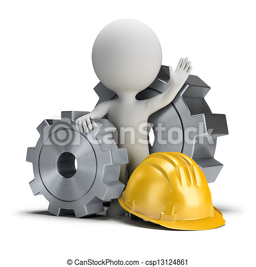 3d small people - gears and helmet - csp13124861