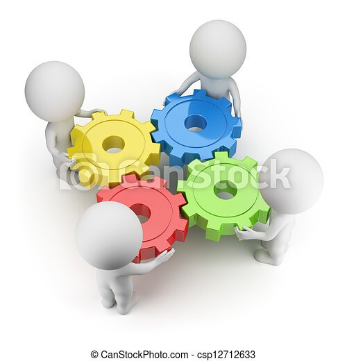 3d small people - gears turned - csp12712633