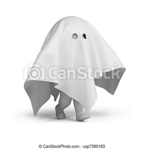 3d small people - ghost costume - csp7390183