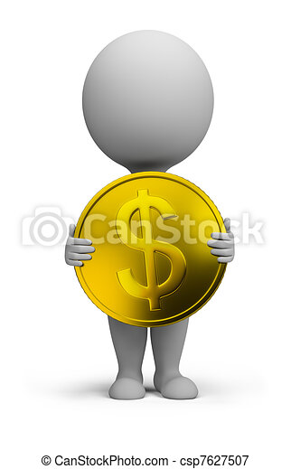 3d small people - gold coin - csp7627507
