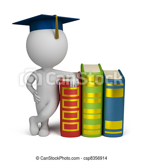 3d small people - graduate and books - csp8356914