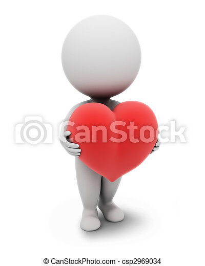 3d small people-heart - csp2969034