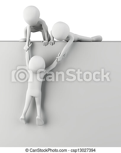 3d small people help to get up.  - csp13027394