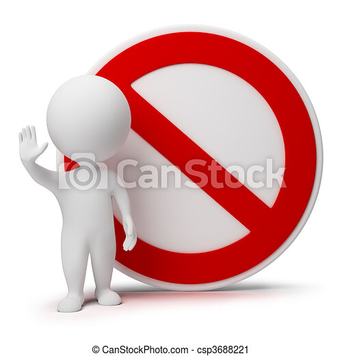3d small people - interdiction sign - csp3688221