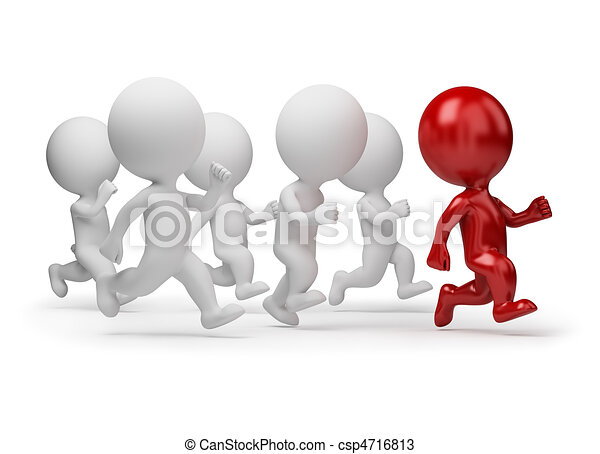 3d small people - leader of running - csp4716813