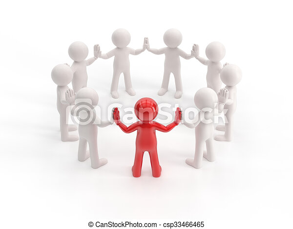 3d small people - leader - csp33466465