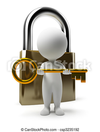 3d small people - lock and key - csp3235192