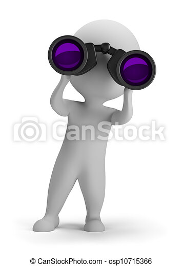 3d small people - looking through binoculars - csp10715366
