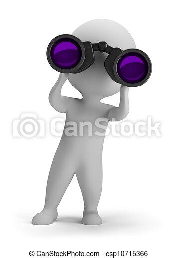 3d small people - looking through binoculars - csp10715366