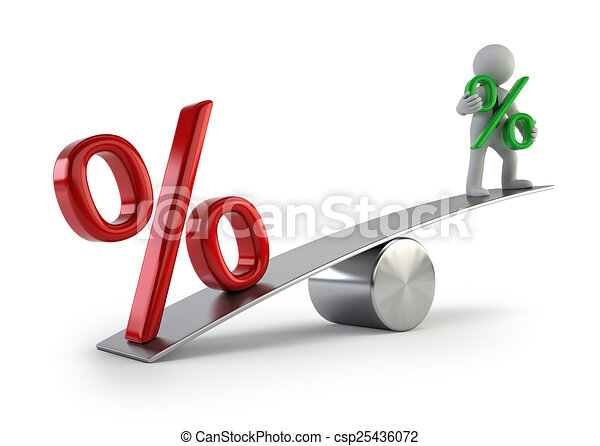 3d small people - low interest rates - csp25436072