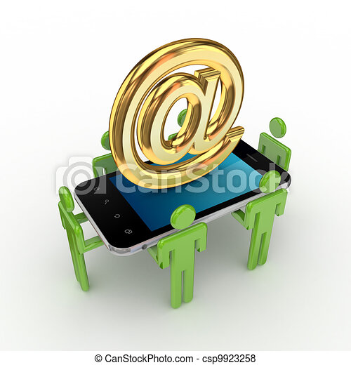 3d small people, mobile phone and AT symbol. - csp9923258