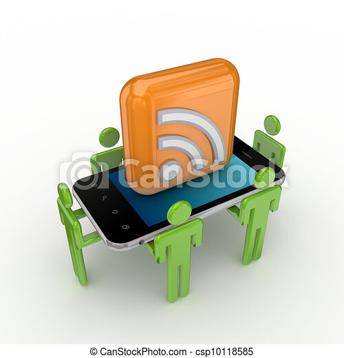 3d small people, mobile phone and RSS symbol. - csp10118585
