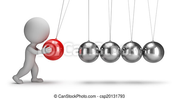 3d small people - Newtons cradle - csp20131793