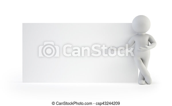 3d small people - next to an empty board - csp43244209