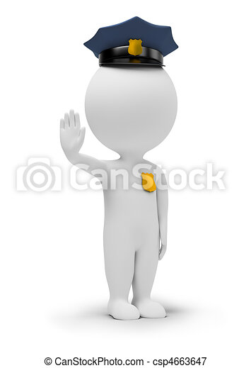 3d small people - policeman - csp4663647