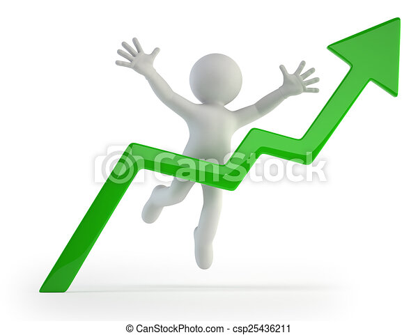 3d small people - positive graph - csp25436211