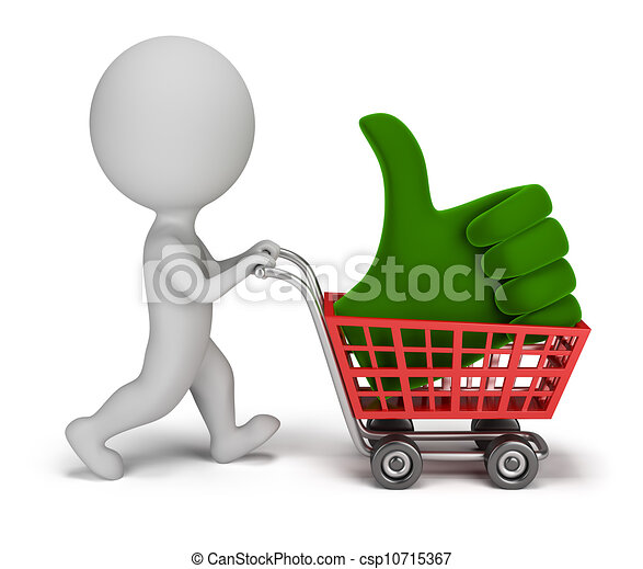 3d small people - positive symbol in the cart - csp10715367
