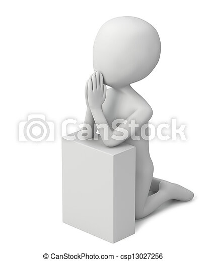 3d small people-praying - csp13027256