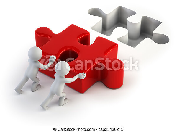 3d small people - push puzzle - csp25436215