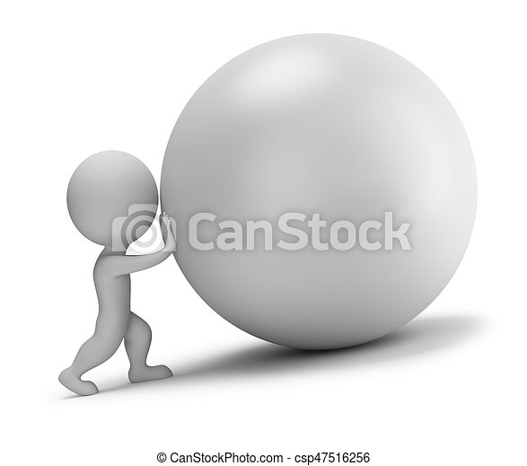3d small people - pushes the ball - csp47516256