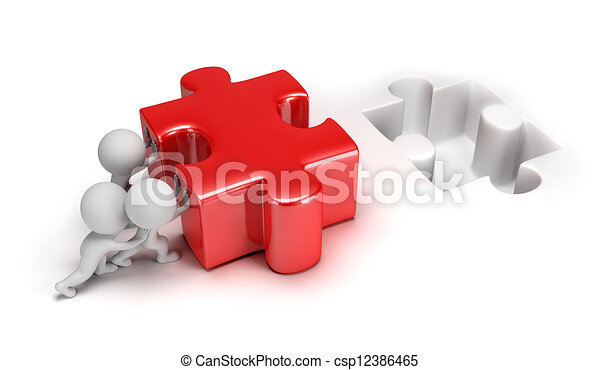 3d small people pushing puzzle - csp12386465