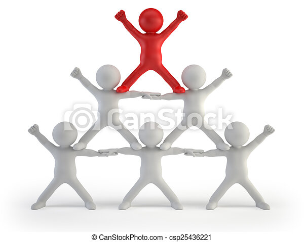 3d small people - pyramid of success - csp25436221