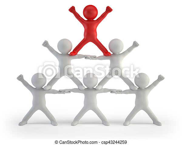 3d small people - pyramid of success - csp43244259