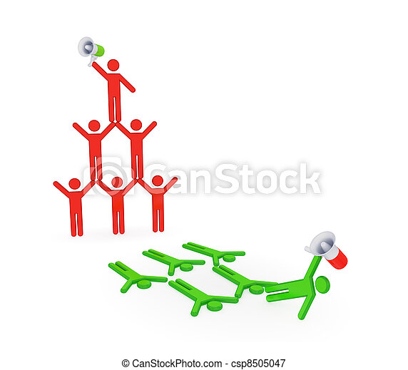 3d small people pyramid. - csp8505047