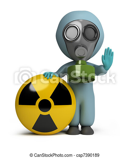 3d small people - radiation - csp7390189