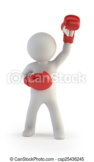 3d small people - red boxing gloves - csp25436245