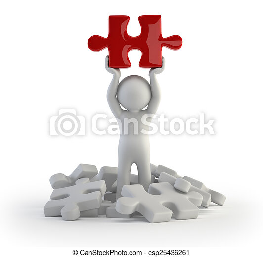 3d small people - red puzzle - csp25436261