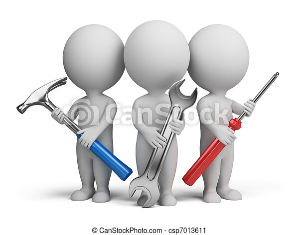 3d small people repairers three 3d people with the tools in the rh canstockphoto com Scanner Clip Art Money Clip Art