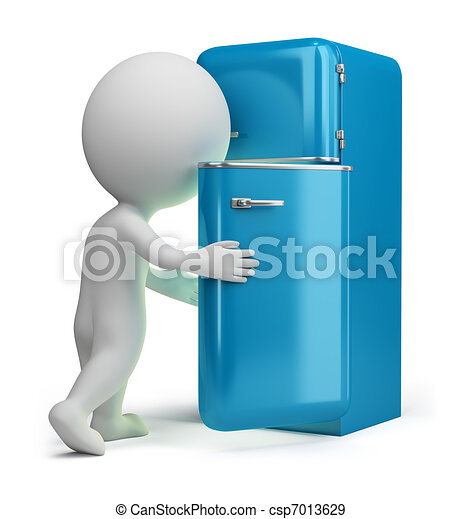 3d small people - retro fridge - csp7013629