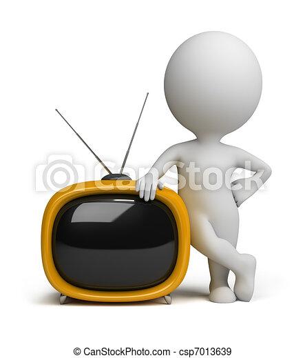 3d small people - retro tv - csp7013639