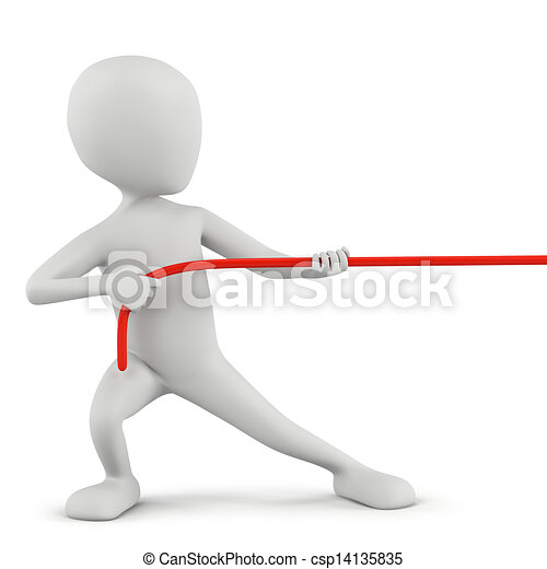 3D small people - rope pulling. - csp14135835