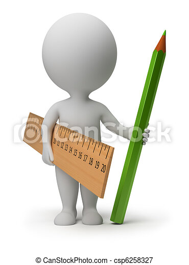 3d small people - ruler and pencil - csp6258327