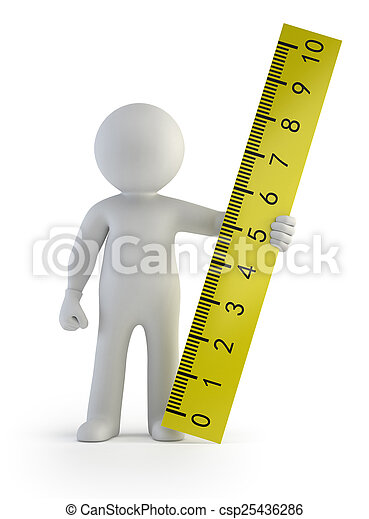 3d small people - ruler in hand - csp25436286