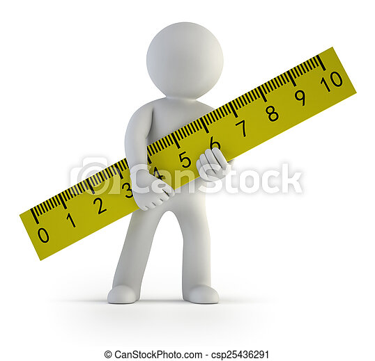 3d small people - ruler - csp25436291
