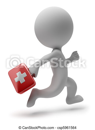 3d small people - running doctor - csp5961564