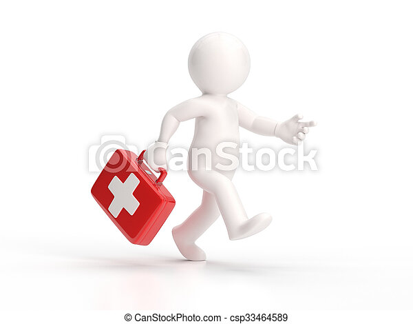 3d small people - running doctor - csp33464589