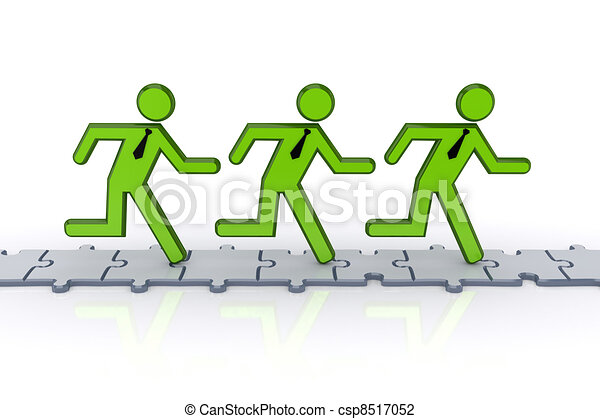 3d small people running on puzzles. - csp8517052