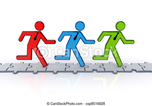 3d small people running on puzzles. - csp8516928