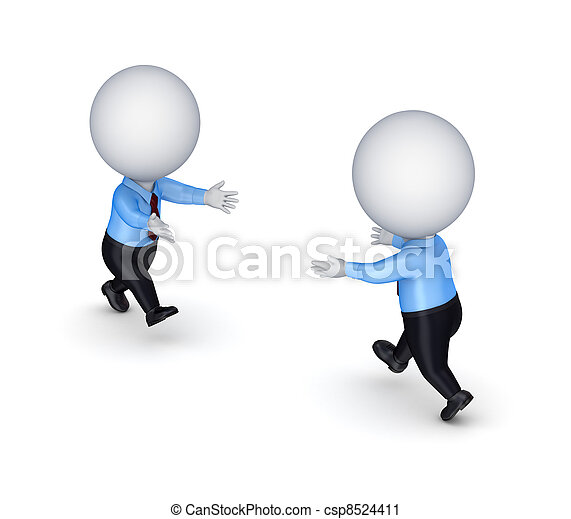 3d small people running to each other. - csp8524411