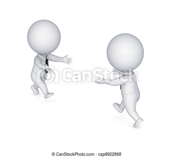 3d small people running to each other. - csp9922868